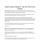 Amazon keyword research   tips and tricks to do it properly