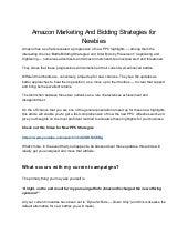 Amazon marketing and bidding strategies for newbies