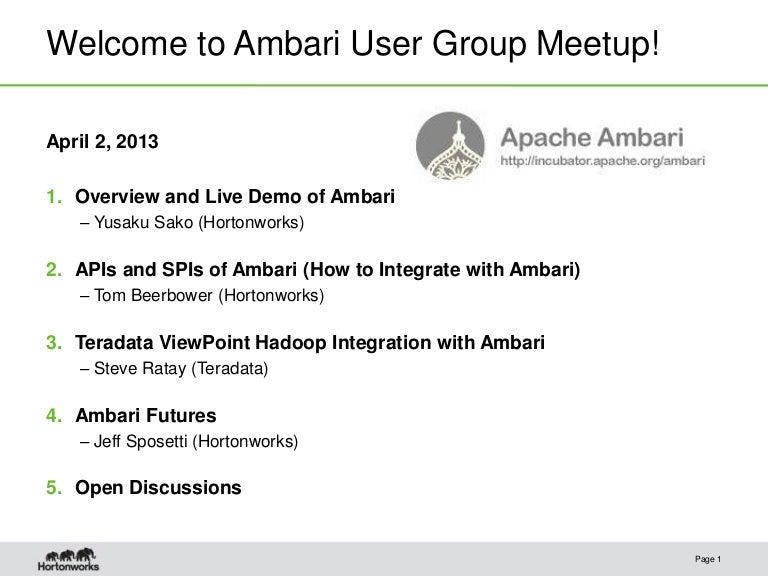 Ambari Meetup: Architecture and Demo