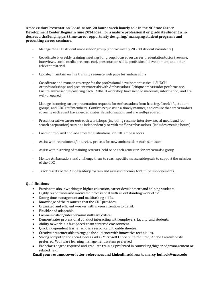 Ambassador Coordinator Job Description