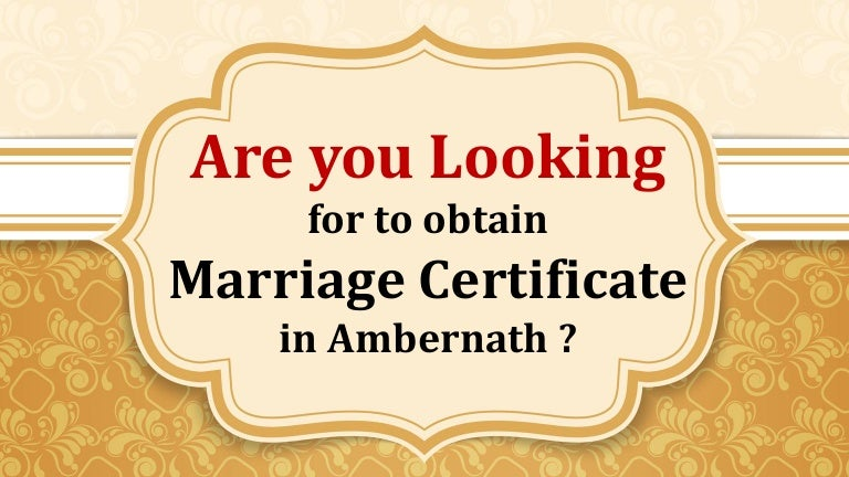 Apply Marriage Certificate Online In Ambernath Mumbai Contact Poo