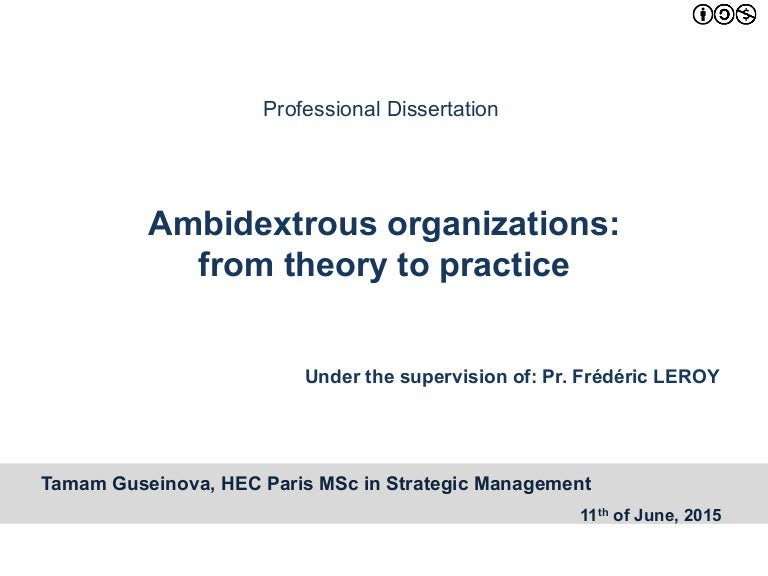 Ambidextrous organizations: from theory to practice