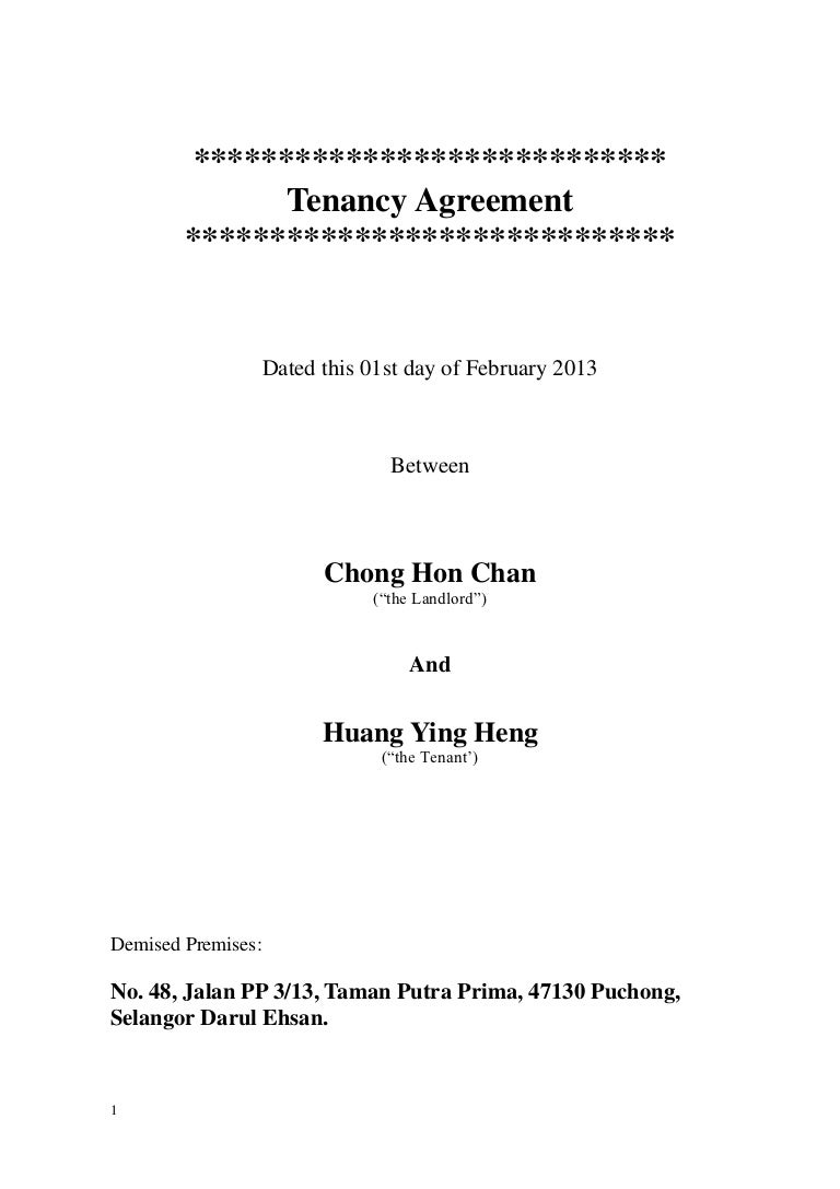 Amended Tenancy Agreement 2013