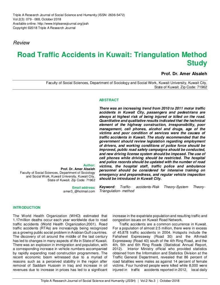 Road Traffic Accidents in Kuwait: Triangulation Method Study