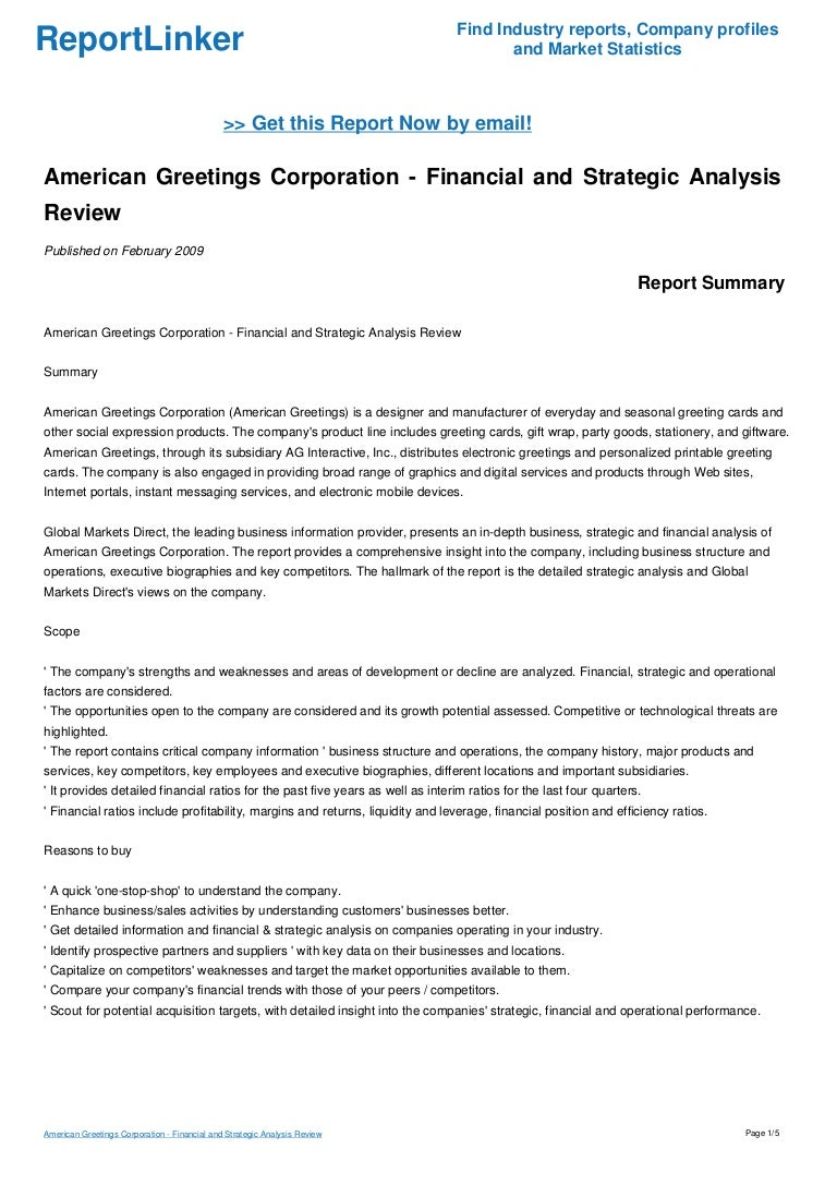 American Greetings Corporation Financial And Strategic Analysis Rev