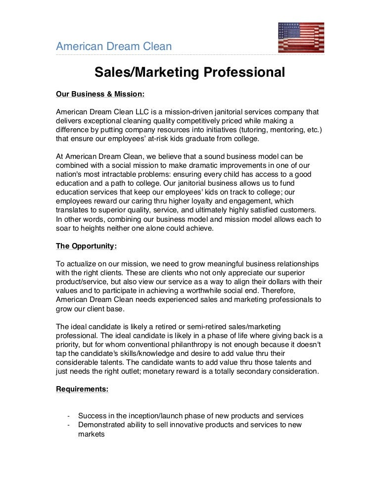 American Dream Clean - Sales & Marketing Professional - Volunteer De…