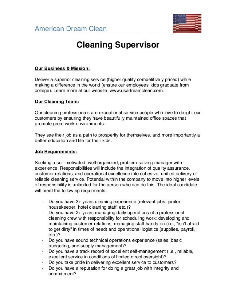 American Dream Clean - Supervisor Job Description
