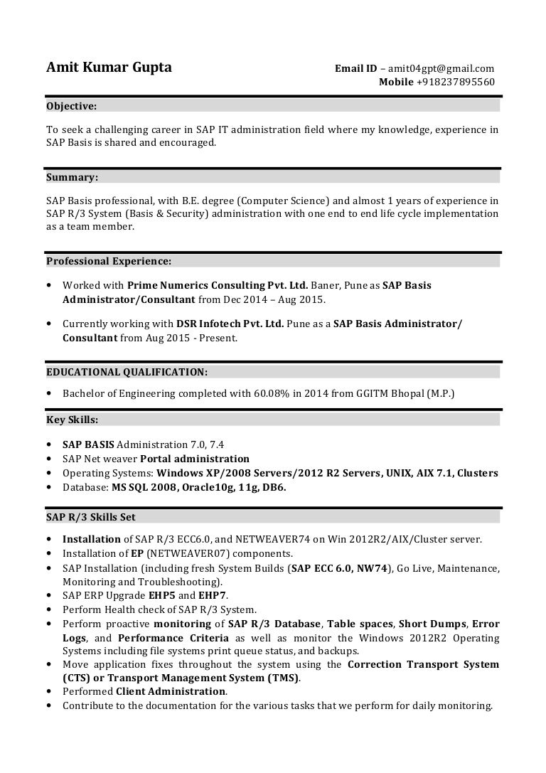 Great Sap Basis Administrator Resume Sample Images >> 50 New ...