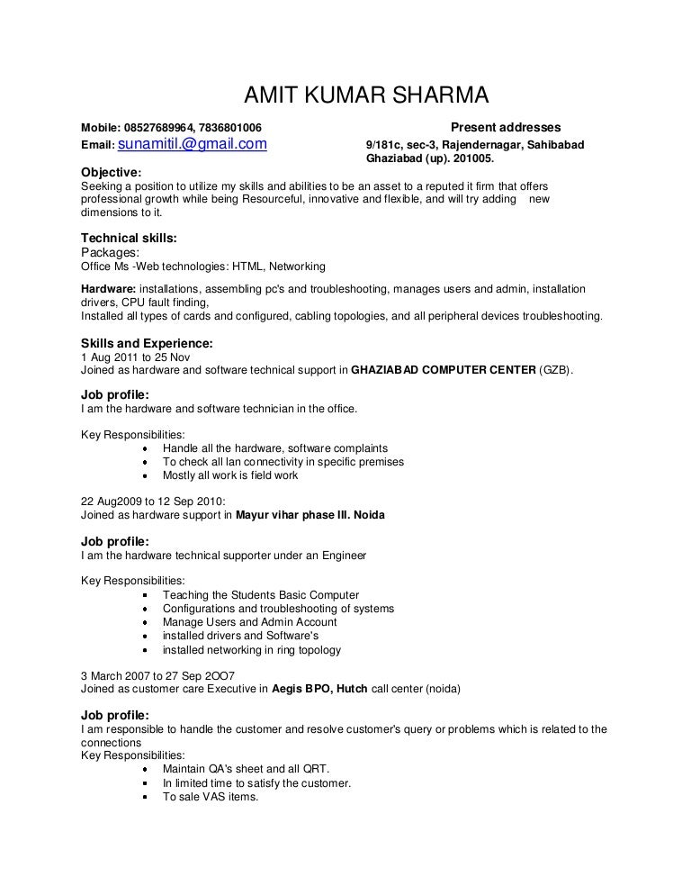 Bpo Resume Sample For Experience Vosvetenet – Resume Format for Marketing Job