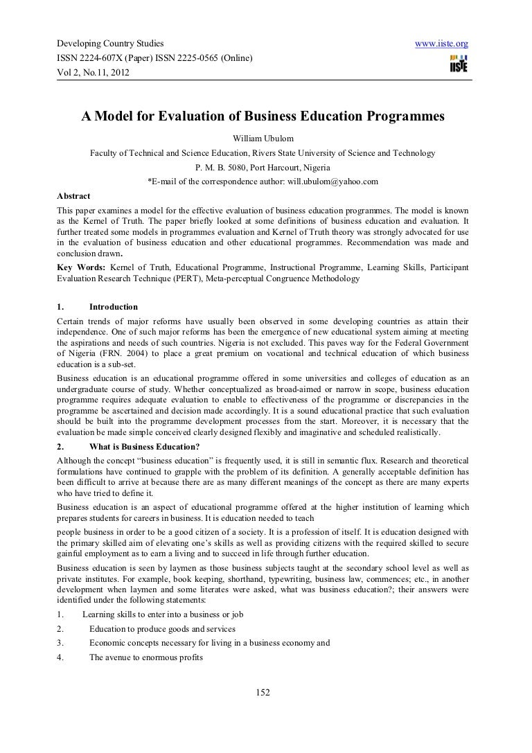 a model for evaluation of business education programmes
