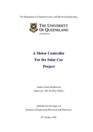 A motor controller for solar car