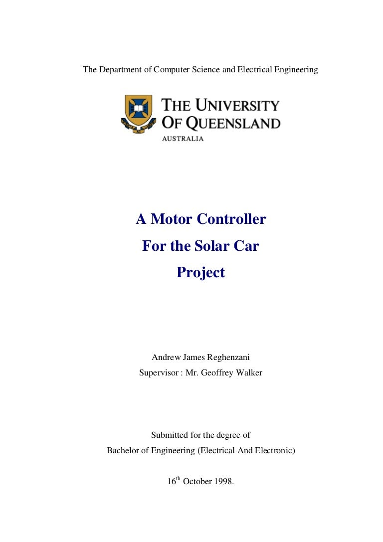 A Motor Controller For Solar Car Cell And Circuit With Electron Flow