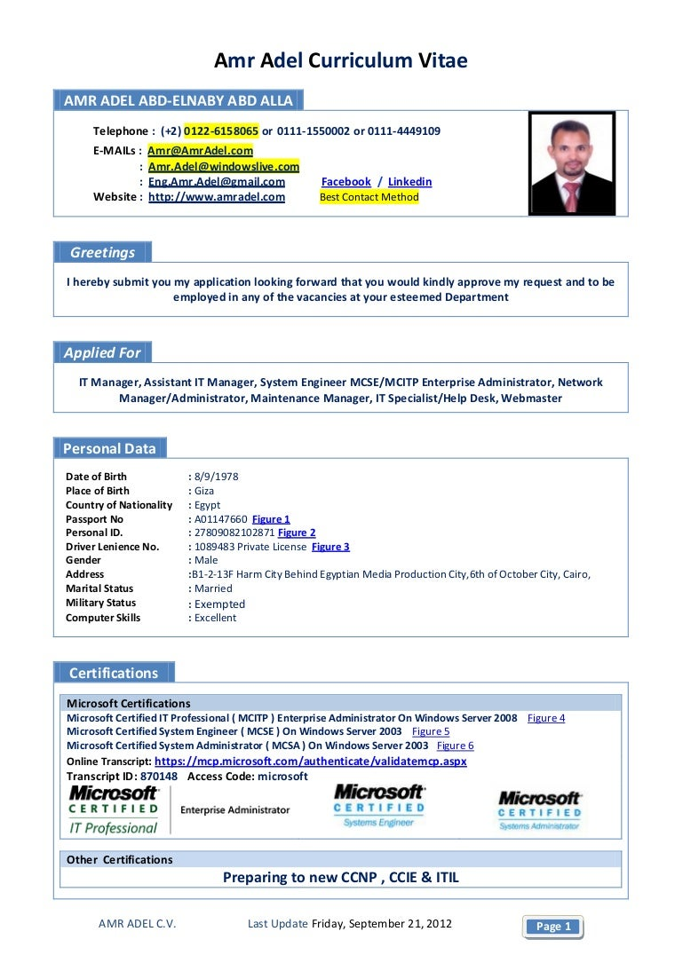 Hr Manager Resume Format Pdf