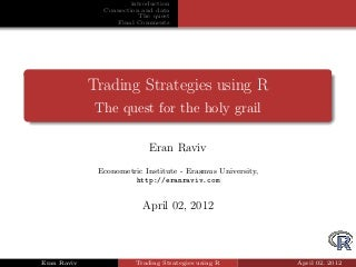 Backtesting Trading Strategies with R