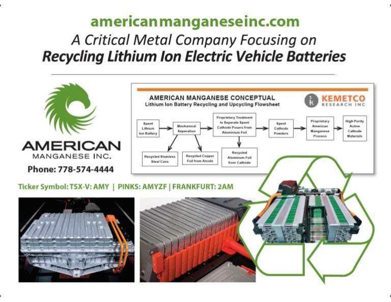 Car Battery Recycling >> American Manganese Inc focusing on Recycling Lithium Ion Electric Veh…