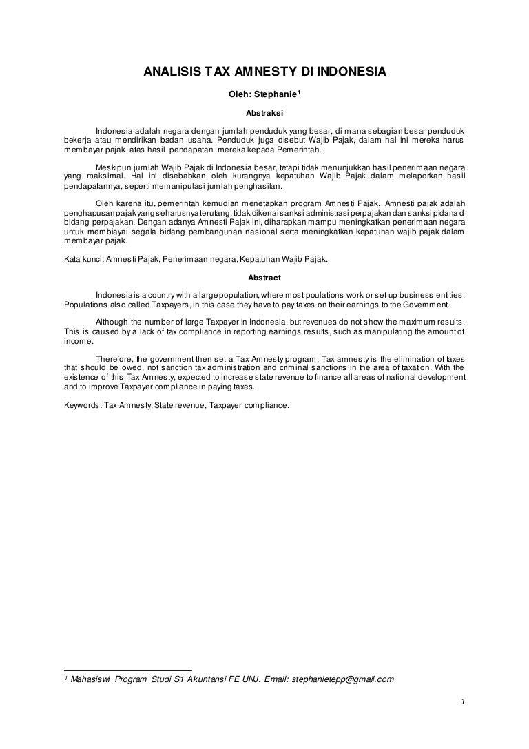 Analisa Tax Amnesty Karya Ilmiah Stephanie S1 Akuntansi A Fakultas