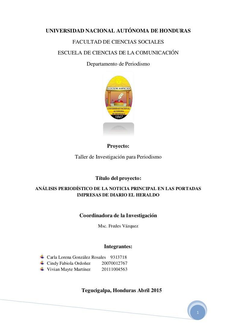 Análisis de la noticia de portada del Diario El Heraldo