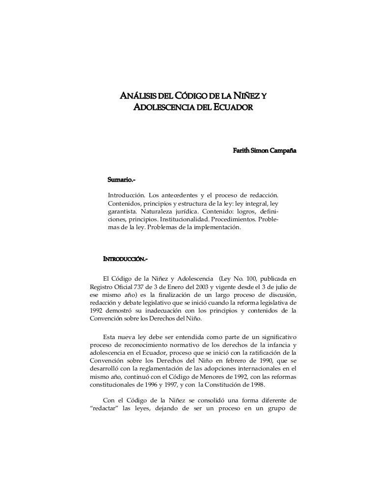 Anàlisis del còdigo de la niñez y adolescencia