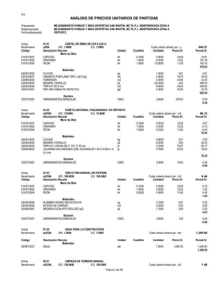 Analisis costos unitarios de partidas 12 for Ejemplo de presupuesto instalacion geotermica chalet