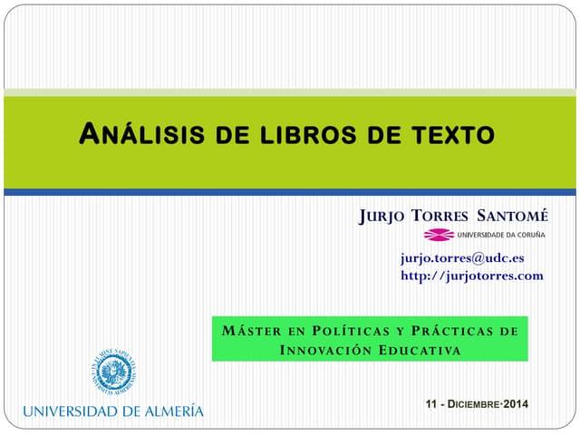 Analisis de libros de texto -  Jurjo Torres Santomé  (2014)