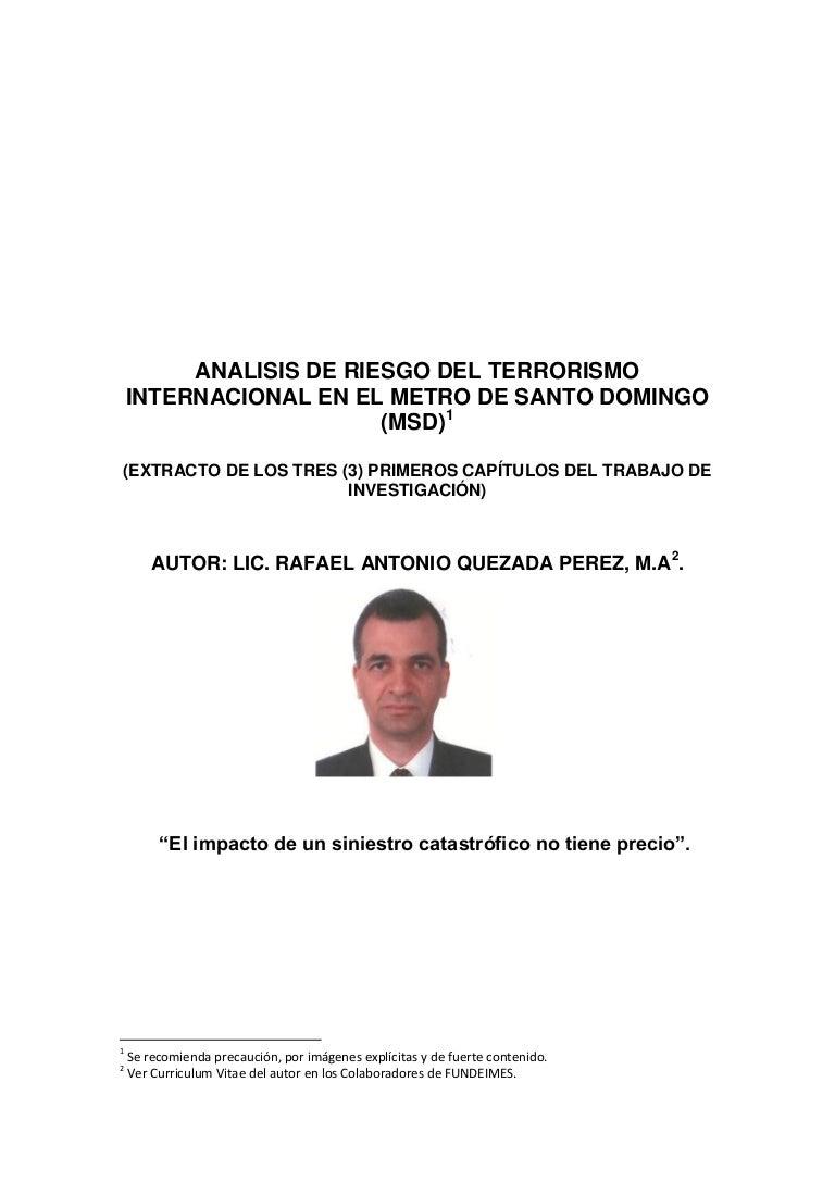 ANÁLISIS DE RIESGO DEL TERRORISMO INTERNACIONAL EN EL METRO DE SANTO …