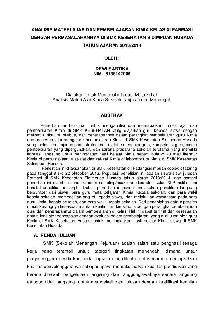 Analisis Materi Ajar Kimia Di Smk Husada