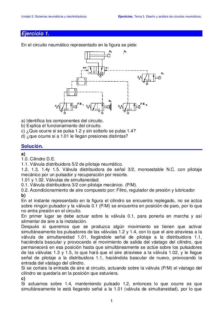Circuito Neumatico Simple : Analisis resueltos neumaticos