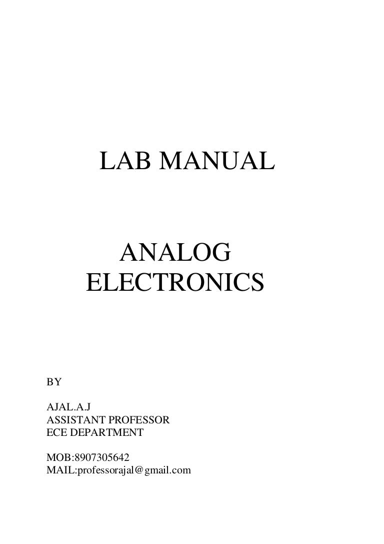 Analog Electronics Lab Manual Electrical Wiring