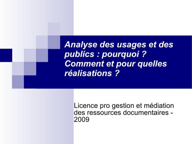 Analyse usages et publics