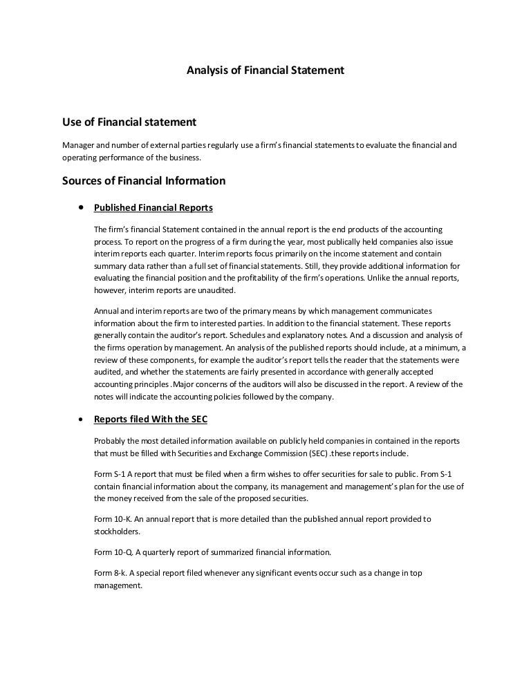 Analysis of financial statement – Annual Report Analysis Sample