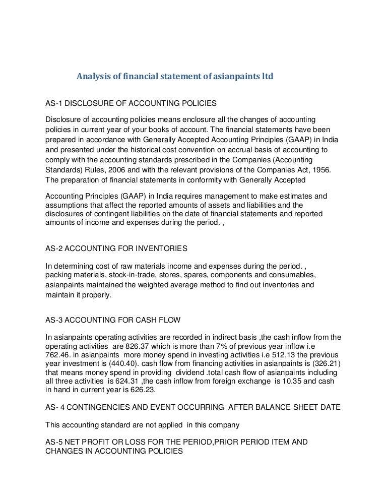 Analysis of financial statement of asianpaints ltd