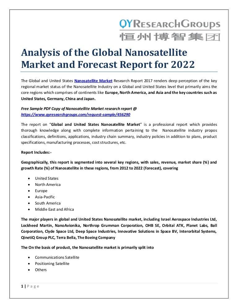 Analysis of the global nanosatellite market and forecast