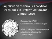 Analytical tech in pre formulation 112070804009