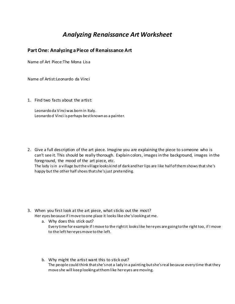 Analyzing renaissance art worksheet alan zurita – Renaissance Worksheet