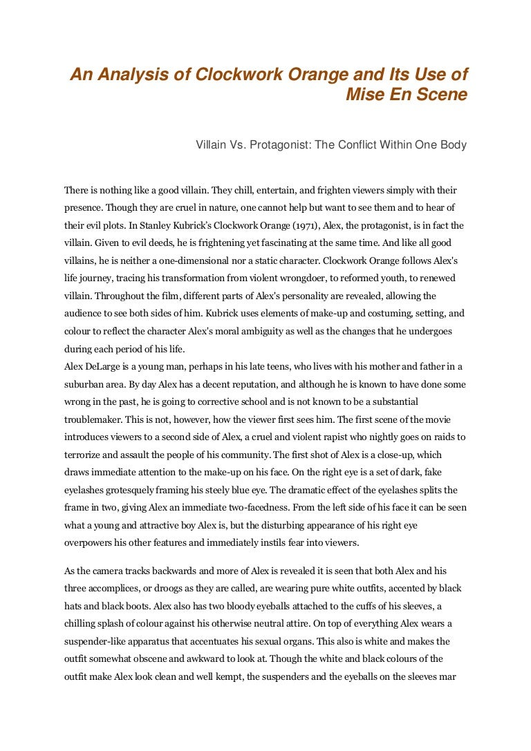 mise en scene essay othello literary essay othello essay about  an analysis of clockwork orange and its use of mise en scene