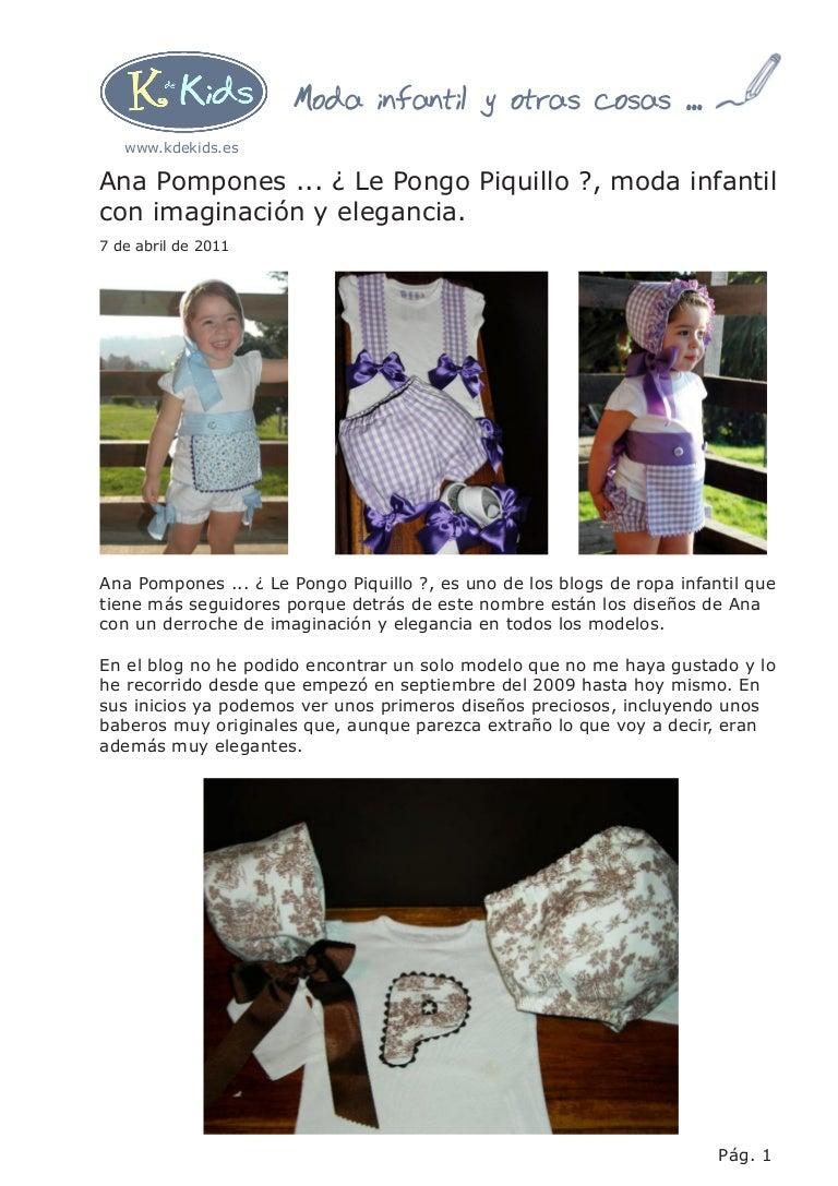 Ana Pompones Le Pongo Piquillo Moda Infantil Con Imaginación