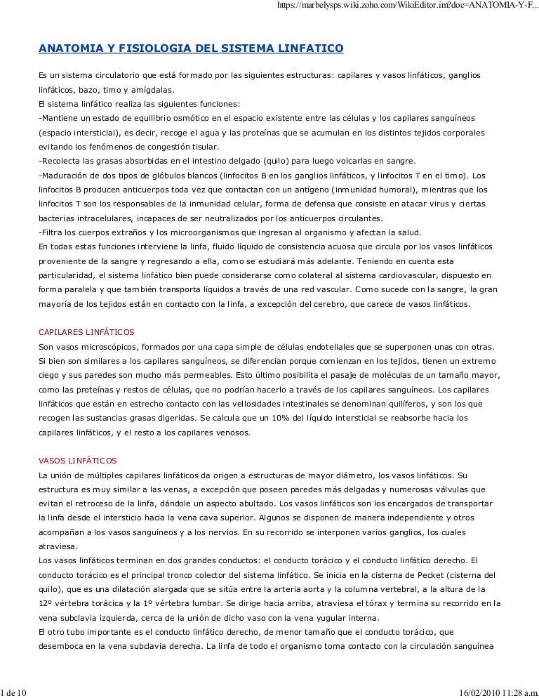 Anatomia Y Fisiologia Del Sistema Linfatico