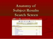 Anatomy of Subject Search Results Screen