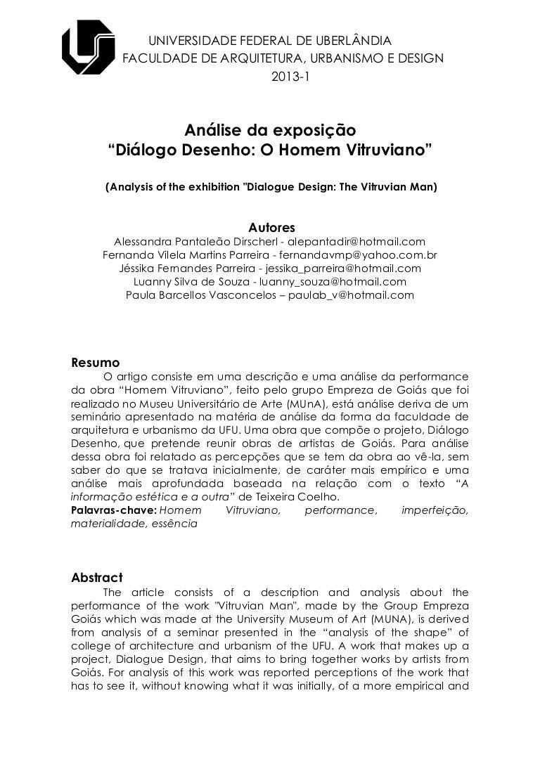 """ARTIGO: Diálogo Desenho – """"O Homem Vitruviano"""""""
