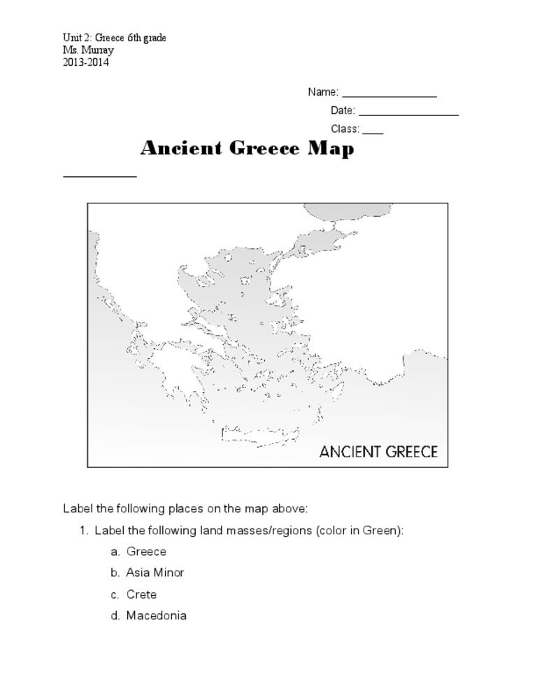 ancient greece map worksheet Termolak – Ancient Greece Map Worksheet