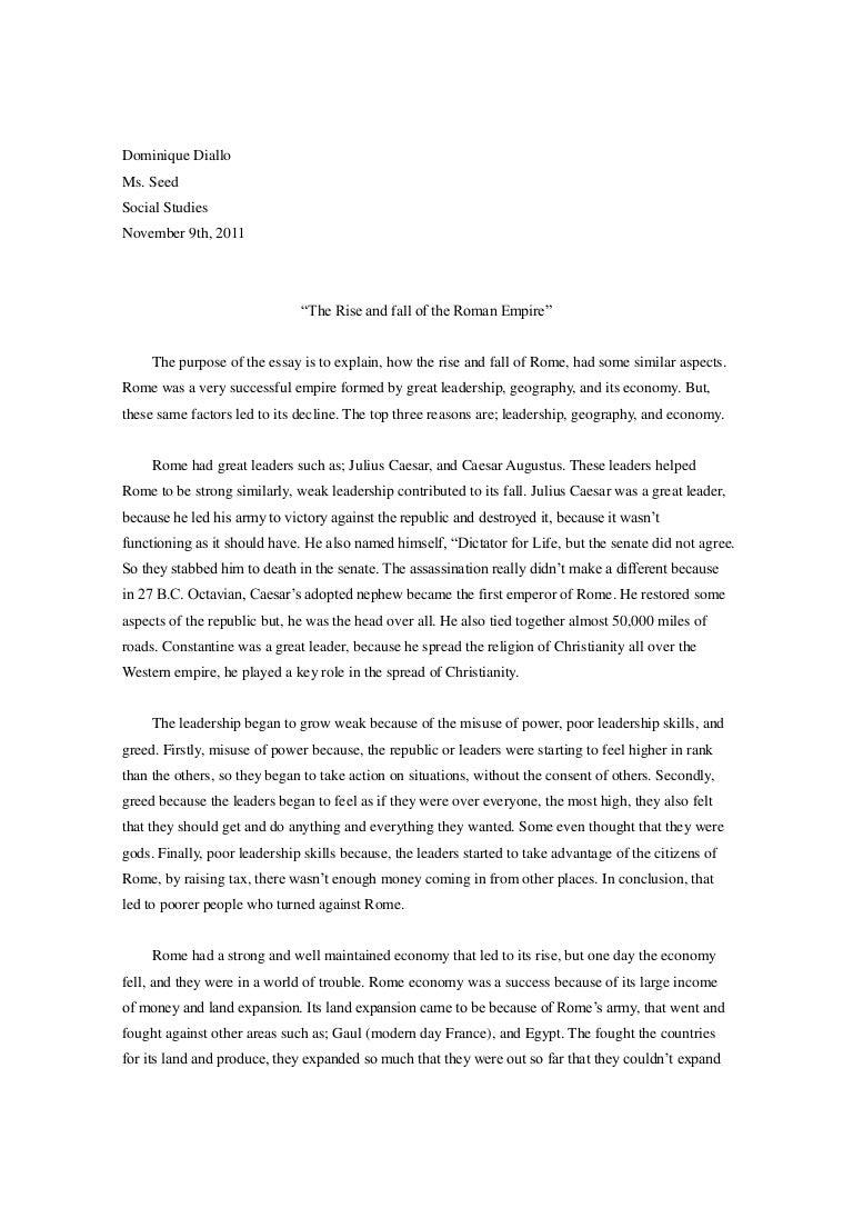 Roman Essay  Romefontanacountryinncom Roman Essay