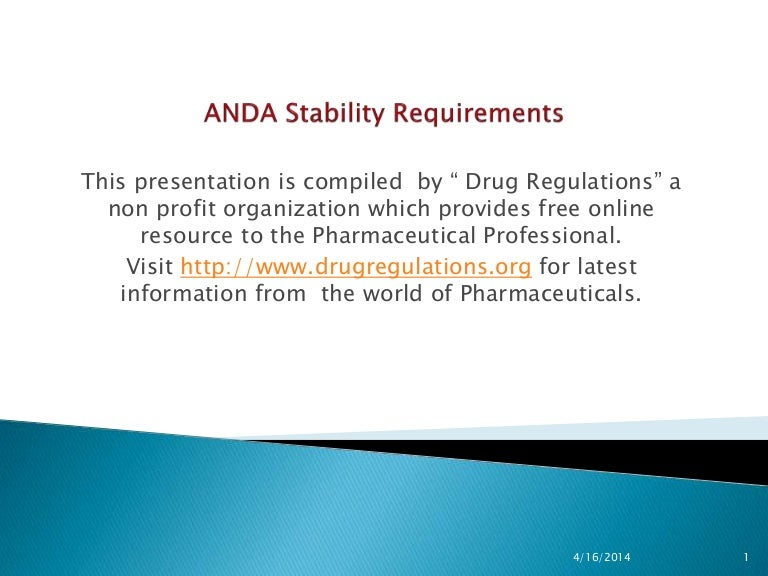 Anda stability guidance and expiration dating