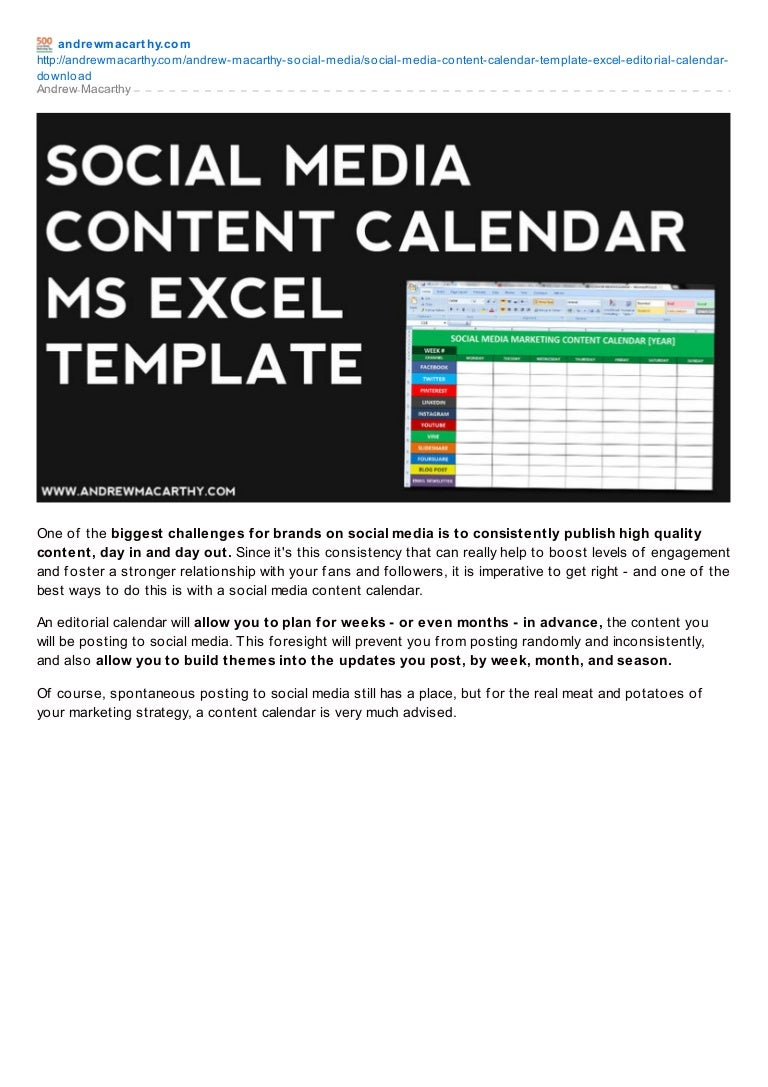 Social Media Content Calendar Template Excel Marketing Editorial Ca