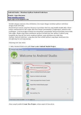 Belajar Android Studio - Membuat Aplikasi Android Sederhana