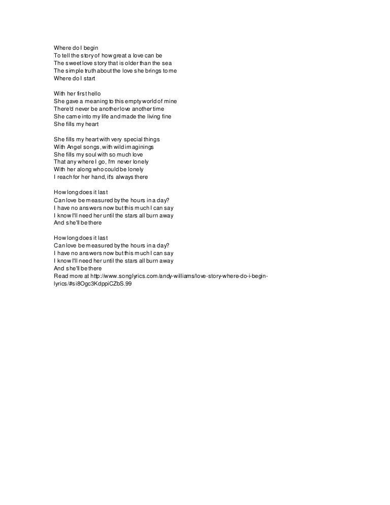 Andy williams songs lyrics