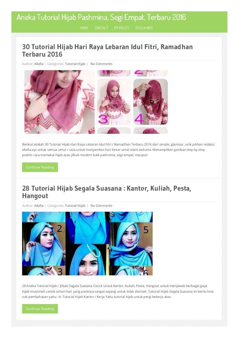 Aneka Tutorial Hijab Pashmina Segi Empat Terbaru 2016