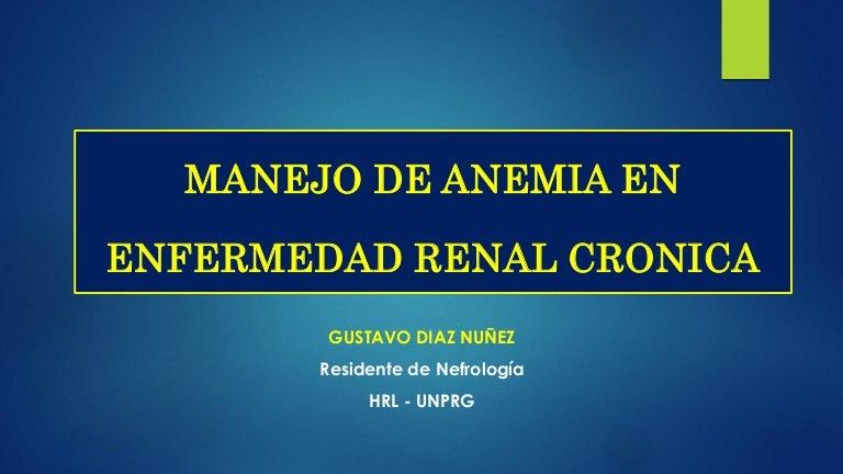 anemia en pacientes con enfermedad renal cronica