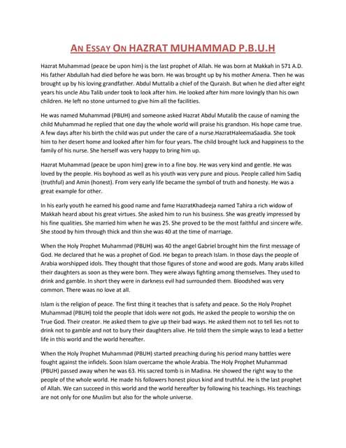 an essay on hazrat muhammad mustafaa s a w