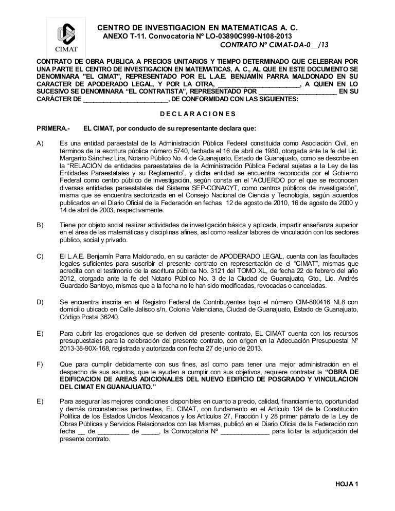 Anexo T11 Modelo De Contrato Lo 03890 C999 N108 2013