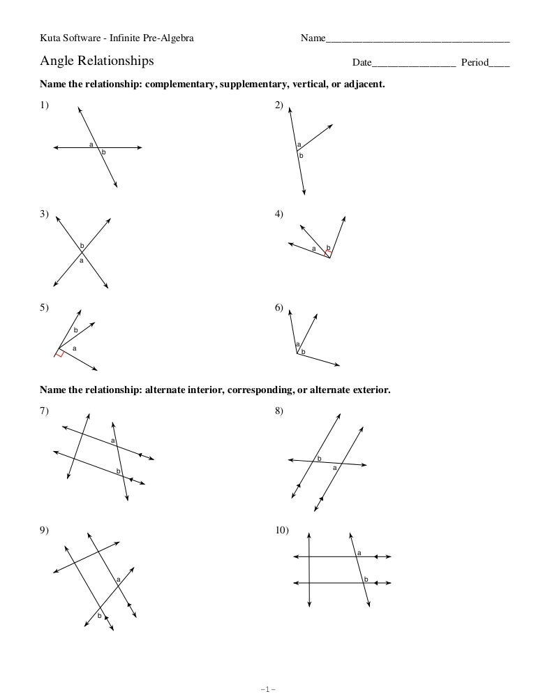 Angle relationships – Supplementary Angles Worksheet